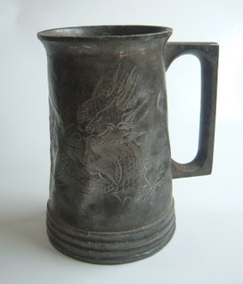 Glass-Bottomed Swatow Pewter Tankard 1
