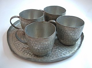Pewter Tea Cups and Tray